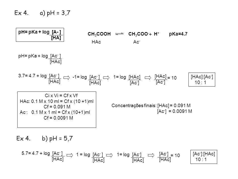 Ex 4. a) pH = 3,7 Ex 4. b) pH = 5,7 pH= pKa + log [A- ] [HA] CH3COOH